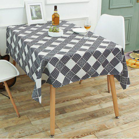 Chic Checked Printed Linen Table Cloth - W55 INCH * L71 INCH WHITE AND BLACK Mobile