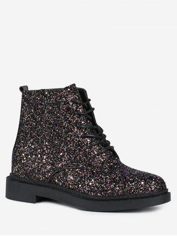 Store Glitter Tie Up Short Boots
