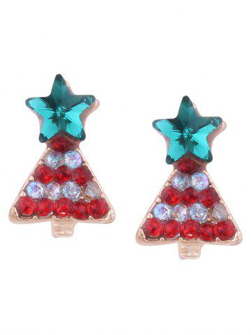 Store Rhinestone Tiny Christmas Tree Star Earrings RED