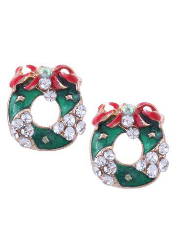 Rhinestone Tiny Christmas Wreath Stud Earrings Vert