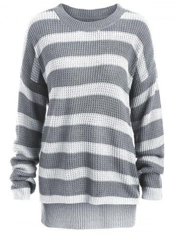 Trendy Knit Plus Size Striped Sweater - ONE SIZE WHITE AND GRAY Mobile