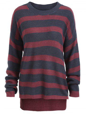 Buy Knit Plus Size Striped Sweater - ONE SIZE GRAY AND RED Mobile