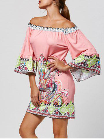 Affordable Off The Shoulder Paisley Printed Bohemian Dress