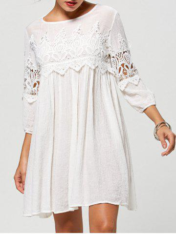 Online 3/4 Sleeve Cut Out Short A Line Dress - XL WHITE Mobile