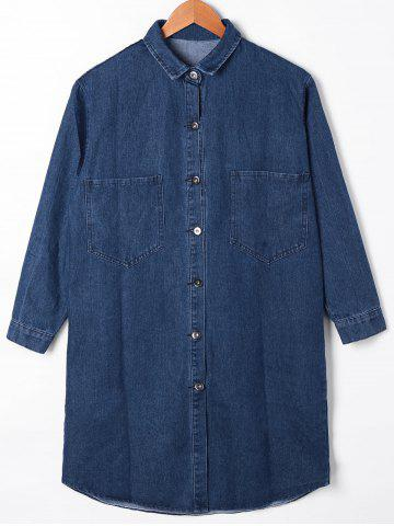 Sale Button Up Patch Pocket Denim Shirt Coat - XL DENIM BLUE Mobile