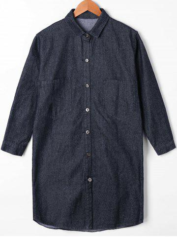 Hot Button Up Patch Pocket Denim Shirt Coat - M BLACK Mobile