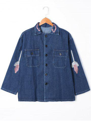 Outfits Flap Pockets Embroidery Jean Jacket DENIM BLUE M