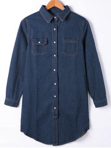 Flap Pocket Button Up Jean Chemise Manteau Denim Bleu XL