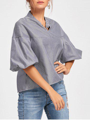 Hot Metal Ring Stripe Puff Sleeve Blouse - S BLUE Mobile