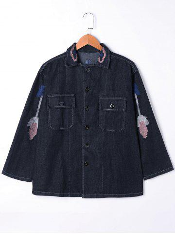Fashion Flap Pockets Embroidery Jean Jacket BLACK L