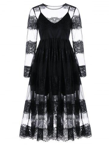 Affordable Lace Trim Tulle Dress and Skater Dress BLACK XL