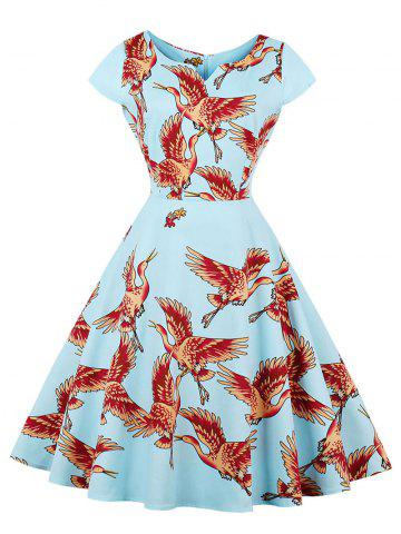 Best Retro Goose Print Fit and Flare Dress CLOUDY S