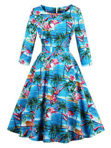 Hot Vintage Flamingo Print Fit and Flare Swing Dress - M BLUE Mobile