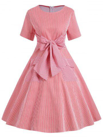 Robe bowknot à rayures doubles