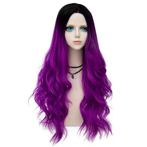 Hot Long Layered Center Parting Wavy Synthetic Party Wig - BRIGHT PURPLE  Mobile