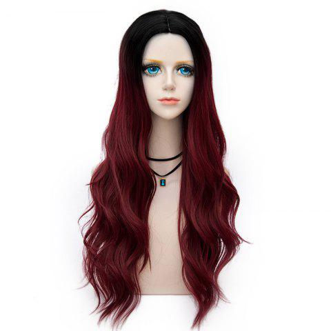 Unique Long Layered Center Parting Wavy Synthetic Party Wig DARK RED
