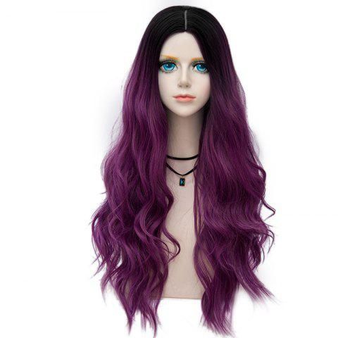 Affordable Long Layered Center Parting Wavy Synthetic Party Wig - TARO PURPLE  Mobile