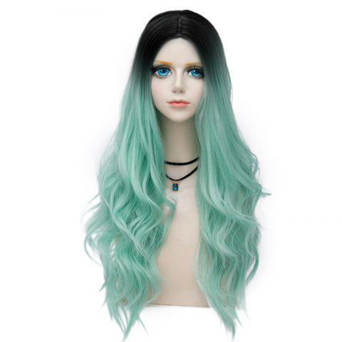Shop Long Layered Center Parting Wavy Synthetic Party Wig MINT GREEN