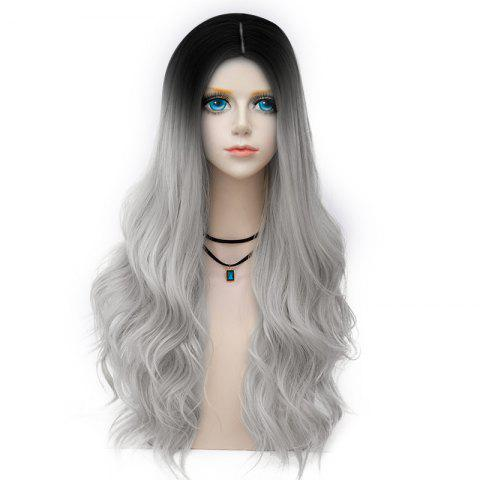Discount Long Layered Center Parting Wavy Synthetic Party Wig FROST