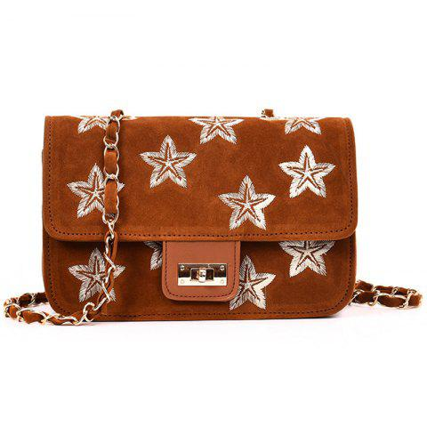 Outfit Star Embroidery Chain Crossbody Bag BROWN