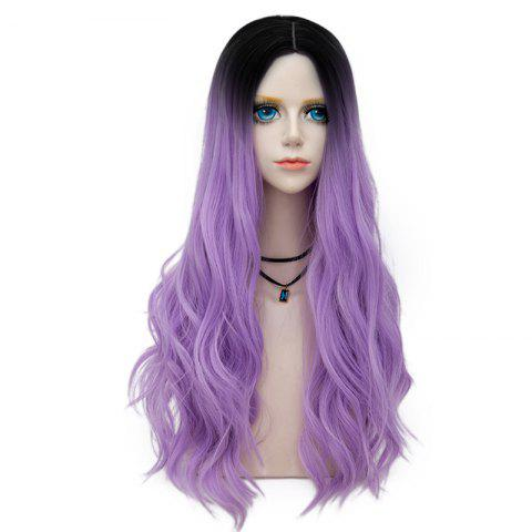 Trendy Long Layered Center Parting Wavy Synthetic Party Wig PURPLE