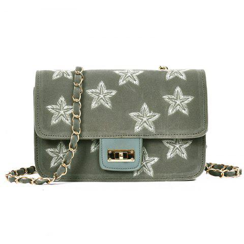 Affordable Star Embroidery Chain Crossbody Bag GRAY
