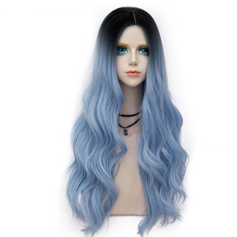 Trendy Long Layered Center Parting Wavy Synthetic Party Wig - WINDSOR BLUE  Mobile