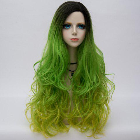 Long Side Parting Colormix Shaggy Layered Ombre Wavy Synthetic Party Wig Émeraude