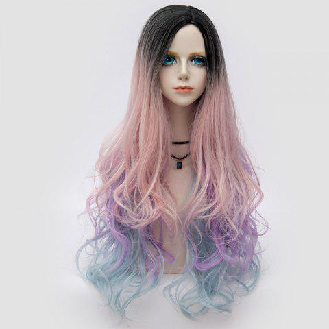 Long Side Parting Colormix Shaggy Layered Ombre Wavy Synthetic Party Wig Delphinium