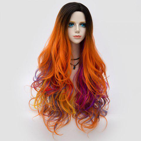 Buy Long Side Parting Colormix Shaggy Layered Ombre Wavy Synthetic Party Wig - PINK+ORANGE  Mobile