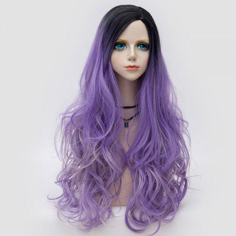 Long Side Parting Colormix Shaggy Layered Ombre Wavy Synthetic Party Wig