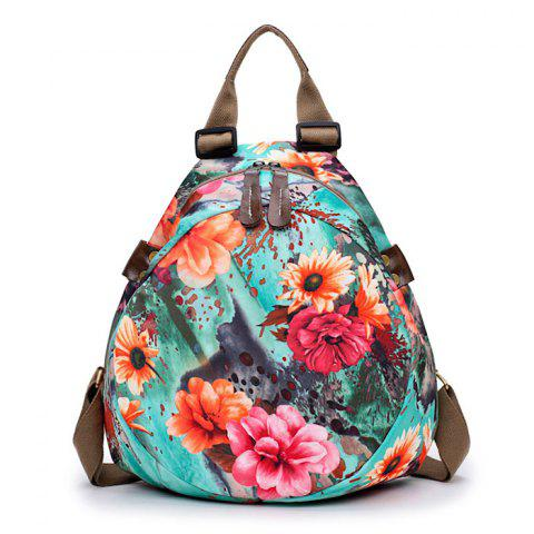 New Nylon Floral Print Backpack BLUE