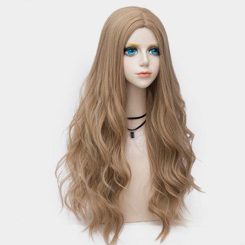 Online Long Layered Center Parting Wavy Synthetic Party Wig LIGHT BROWN