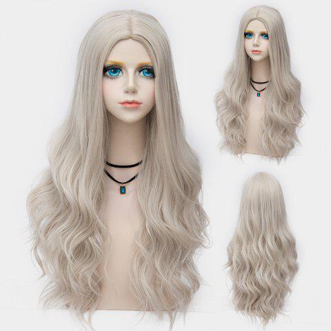 Hot Long Layered Center Parting Wavy Synthetic Party Wig DARK OFF-WHITE OMBRE
