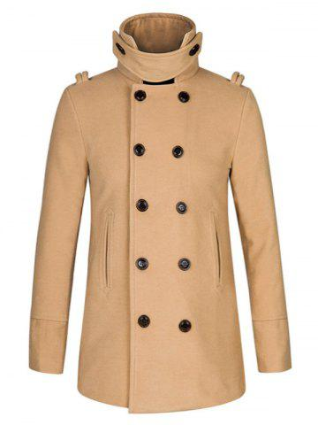 Cheap Stand Collar Double Breasted Woolen Peacoat - 2XL KHAKI Mobile