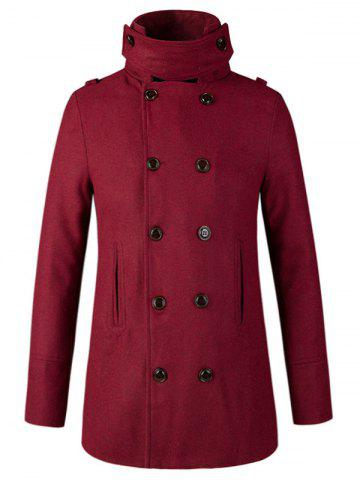 Fancy Stand Collar Double Breasted Woolen Peacoat WINE RED 2XL