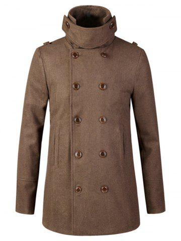 Fancy Stand Collar Double Breasted Woolen Peacoat COFFEE 2XL