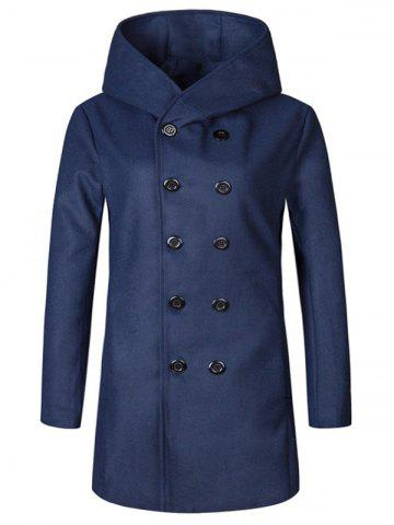Outfits Hooded Double Breasted Woolen Coat - L CADETBLUE Mobile