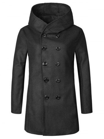 Latest Hooded Double Breasted Woolen Coat - 2XL BLACK Mobile