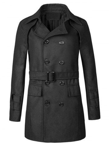 Outfit Epaulet Double Breasted Belt Woolen Peacoat - XL BLACK Mobile