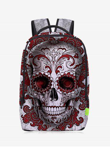 Fashion Zips Canvas Skull Backpack RED