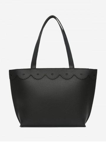Buy Heart Pattern PU Leather Shoulder Bag BLACK