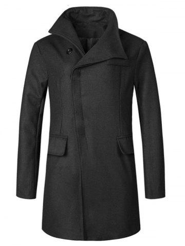 Buy Cover Placket Longline Woolen Coat - 2XL BLACK Mobile
