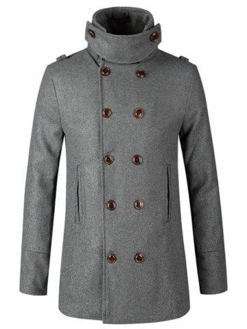 New Stand Collar Double Breasted Woolen Peacoat - L GRAY Mobile