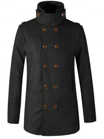 Latest Stand Collar Double Breasted Woolen Peacoat BLACK 2XL