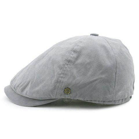 Sale Small Alloy Label Plain Cabbie Hat - GRAY  Mobile