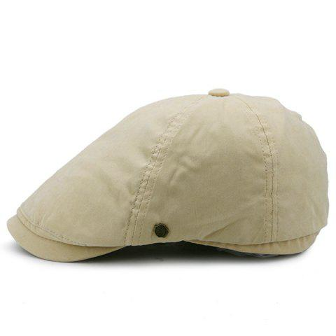 Shop Small Alloy Label Plain Cabbie Hat KHAKI