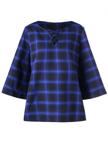 Lattice Plus Size Color Block Plaid Top Carré XL