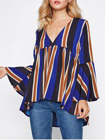 Store Striped Flare Sleeve Smock Top COLORMIX S