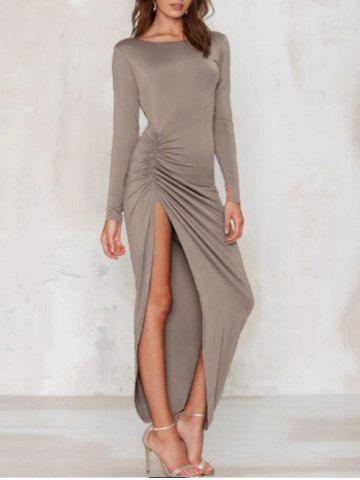 Slit Open Back Long Sleeve Maxi Dress Camel L